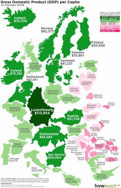 Как выглядит Беларусь по ВВП на душу населения на фоне Европы и мира2