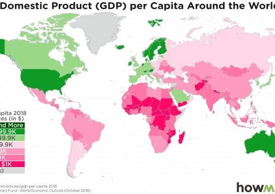Как выглядит Беларусь по ВВП на душу населения на фоне Европы и мира1