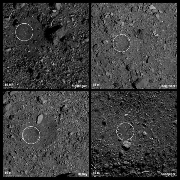 Выбраны места посадки OSIRIS-REx на астероид Бенну1